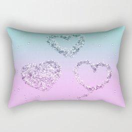Mermaid LOVE Glitter Hearts #1 #shiny #decor #art #society6 Rectangular Pillow