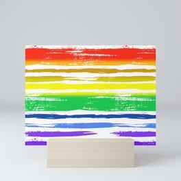 Pride Rainbow Gradient Funky Grunge Brushstrokes on White Mini Art Print