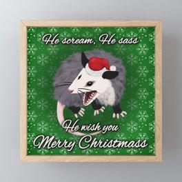 Christmas Opossum Framed Mini Art Print
