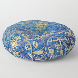 Mexican gold on blue Floor Pillow