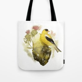 Goldfinch Bird and Anglesite Crystals Tote Bag