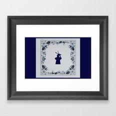 Delft blue tile windmill 'de Roos' in Delft Framed Art Print