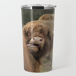 Funny Scottish Highland cow Travel Mug