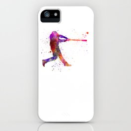 Baseball player hitting a ball 01 iPhone Case