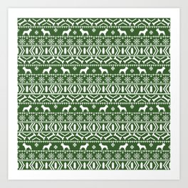 Boston Terrier fair isle dog pattern silhouette christmas sweater green and white Art Print