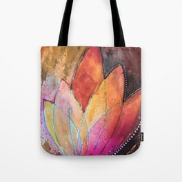 Lotus Dreaming in Colour and Dots Tote Bag