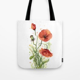 Red Poppies Watercolor Tote Bag