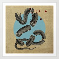 snake Art Prints featuring Snake by DIVIDUS