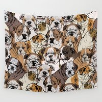 bulldog Wall Tapestries featuring Social English Bulldog by Huebucket