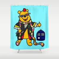 winnie the pooh Shower Curtains featuring Doctor Pooh by Murphis the Scurpix