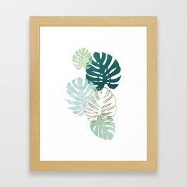 Tropical minimal / green, turquoise and gold monstera Framed Art Print
