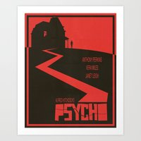 movie poster Art Prints featuring Psycho Movie Poster by Finlay McNevin