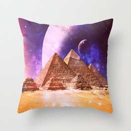 Galaxy Pyramids Throw Pillow