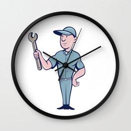 Handyman Holding Spanner Cartoon  Wall Clock