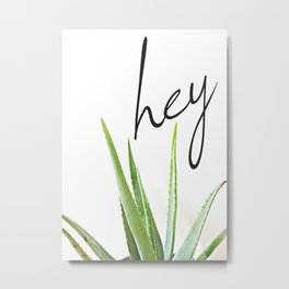 Hey Aloe - Succulent with White Background Metal Print