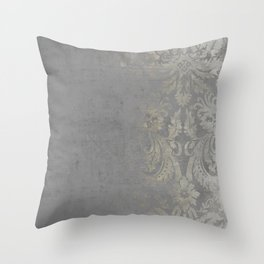 Grunge Damask Throw Pillow