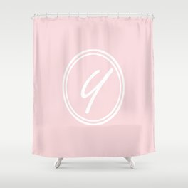 Monogram - Letter Y on Pale Pink Background Shower Curtain