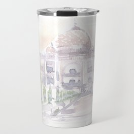 Watercolor landscape illustration_India - Taj Mahal Travel Mug