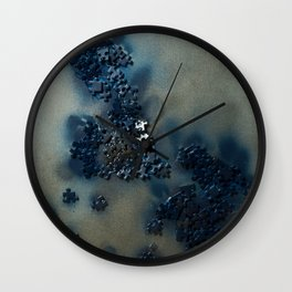 Puzzles on silver Wall Clock