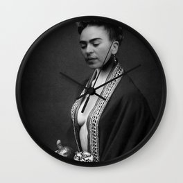Portrait with fruit from the Garden of Casa Azul, Mexico black and white photograph / photography Wall Clock
