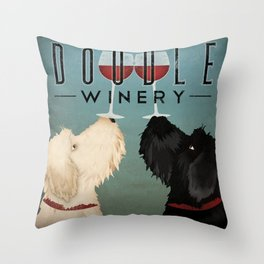 Doodle Goldendoodle Labradoodle Schoodle Whoodle Winery Throw Pillow