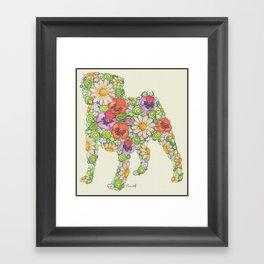 Garden Pug Framed Art Print