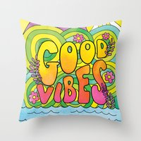 good vibes Throw Pillows featuring Good Vibes by Rachel Beyer