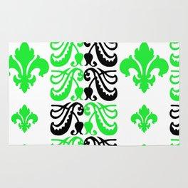 Fluer de Lis Custom Green Rug