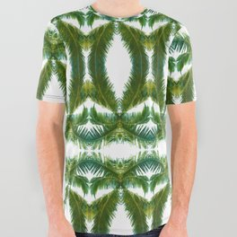 Palm Leaf Kaleidoscope (on white) #2 All Over Graphic Tee