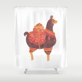 The Lovely Llama Shower Curtain