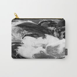Purple Peonies in Gold with Red - Black and White Carry-All Pouch