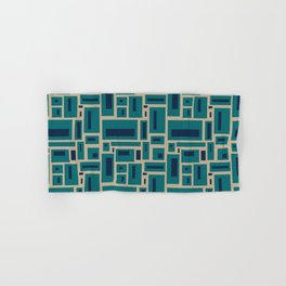 Geometric Rectangles in Navy, Teal and Tan 2 Hand & Bath Towel