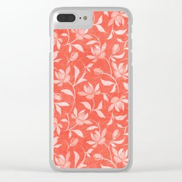 Living Coral Floral Pattern 3 Clear iPhone Case