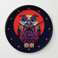 shipping Wall Clocks featuring OWL 2 by Ali GULEC