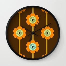 Cool Cat - minimal retro vibes floral flower power 1970s style throwback colors decor 70's Wall Clock