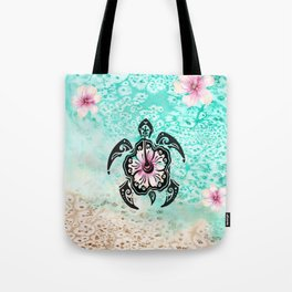 Hibiscus Turtle Tote Bag
