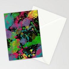 Paint Splatter on Black Background Stationery Cards