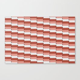 Staggered Oblong Rounded Lines Pantone Living Coral Illustration Canvas Print