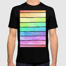 Watercolor Rainbow Stripes in Ombre Summer Pastels Mens Fitted Tee Black LARGE