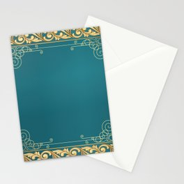 teal and gold belle époque pattern Stationery Cards