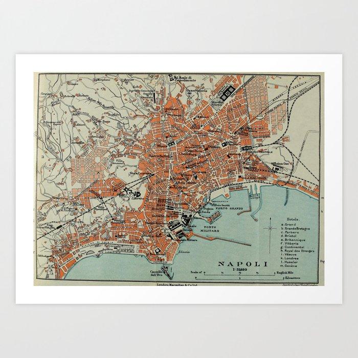 Vintage Map of Naples Italy (1911) Art Print
