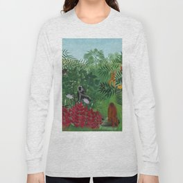 """Henri Rousseau """"Tropical Forest with Apes and Snake"""", 1910 Long Sleeve T-shirt"""