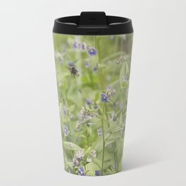Bee in the forget me nots Travel Mug