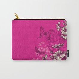 Vintage butterfly wallpaper- magenta Carry-All Pouch