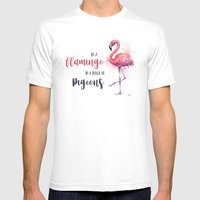 Be a Flamingo Watercolor Animal Typography White Mens Fitted Tee MEDIUM
