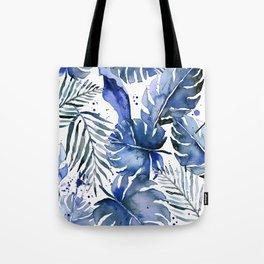 Tropical plants in indigo blue Tote Bag