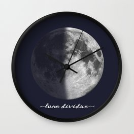 First Quarter Moon on Navy Latin Wall Clock