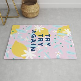 Try Try Again - Motivational Quote Design - Lemons and Flowers Rug