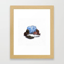 Blue Calcite and Various Stones Framed Art Print