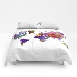 World map in watercolor  Comforters